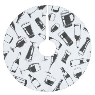 Black Pattern Drinks and Glasses Brushed Polyester Tree Skirt