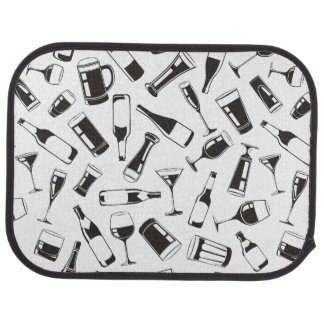Black Pattern Drinks and Glasses Car Mat