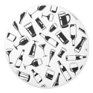 Black Pattern Drinks and Glasses Ceramic Knob