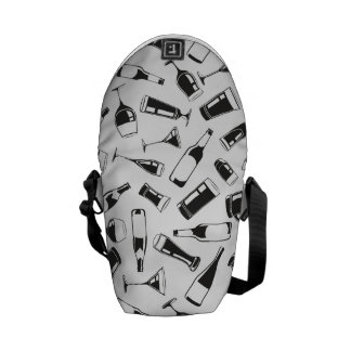 Black Pattern Drinks and Glasses Commuter Bags