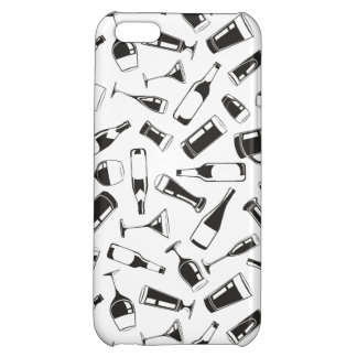 Black Pattern Drinks and Glasses Cover For iPhone 5C