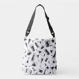 Black Pattern Drinks and Glasses Crossbody Bag