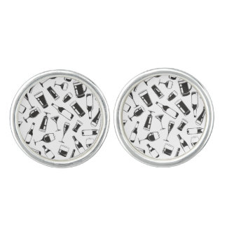 Black Pattern Drinks and Glasses Cufflinks