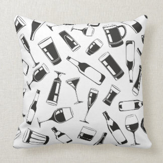 Black Pattern Drinks and Glasses Cushion