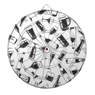 Black Pattern Drinks and Glasses Dartboard