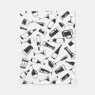 Black Pattern Drinks and Glasses Fleece Blanket