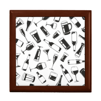 Black Pattern Drinks and Glasses Gift Box