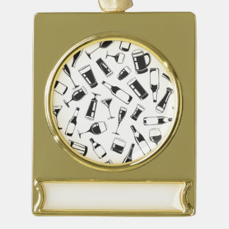 Black Pattern Drinks and Glasses Gold Plated Banner Ornament