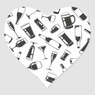 Black Pattern Drinks and Glasses Heart Sticker