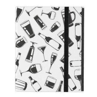 Black Pattern Drinks and Glasses iPad Folio Case