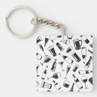 Black Pattern Drinks and Glasses Key Ring