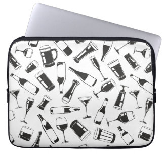 Black Pattern Drinks and Glasses Laptop Computer Sleeve