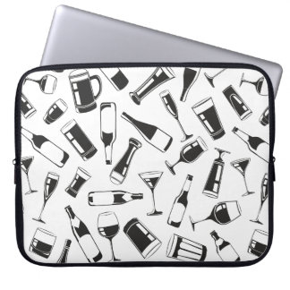 Black Pattern Drinks and Glasses Laptop Sleeve