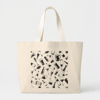 Black Pattern Drinks and Glasses Large Tote Bag