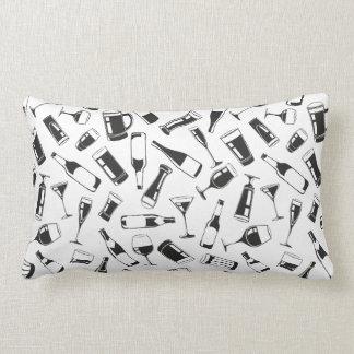 Black Pattern Drinks and Glasses Lumbar Cushion