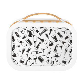 Black Pattern Drinks and Glasses Lunch Box