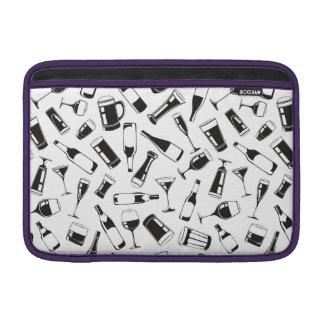 Black Pattern Drinks and Glasses MacBook Air Sleeves