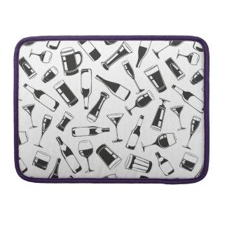 Black Pattern Drinks and Glasses MacBook Pro Sleeve
