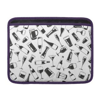 Black Pattern Drinks and Glasses MacBook Sleeve