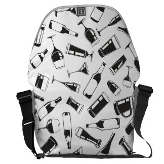 Black Pattern Drinks and Glasses Messenger Bag