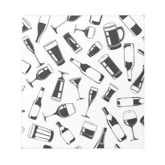 Black Pattern Drinks and Glasses Notepad
