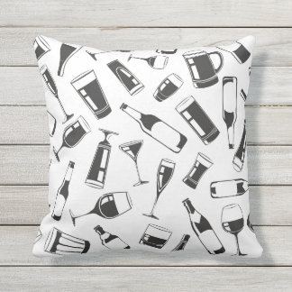 Black Pattern Drinks and Glasses Outdoor Cushion
