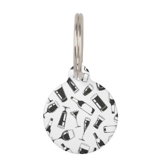 Black Pattern Drinks and Glasses Pet ID Tag