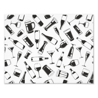 Black Pattern Drinks and Glasses Photographic Print