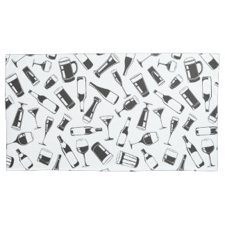 Black Pattern Drinks and Glasses Pillowcase