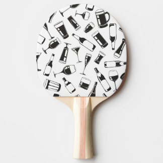 Black Pattern Drinks and Glasses Ping Pong Paddle