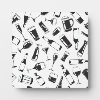 Black Pattern Drinks and Glasses Plaque