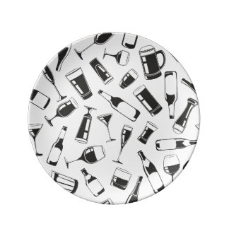 Black Pattern Drinks and Glasses Plate