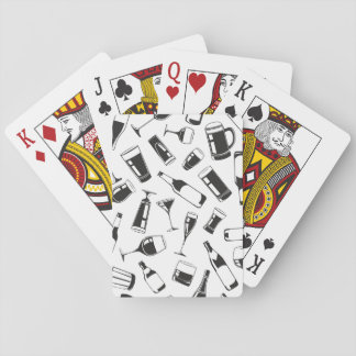 Black Pattern Drinks and Glasses Playing Cards