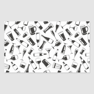 Black Pattern Drinks and Glasses Rectangular Sticker