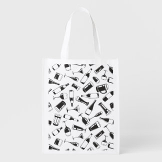 Black Pattern Drinks and Glasses Reusable Grocery Bag