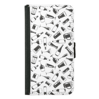 Black Pattern Drinks and Glasses Samsung Galaxy S5 Wallet Case