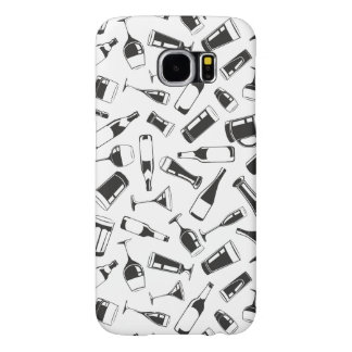 Black Pattern Drinks and Glasses Samsung Galaxy S6 Cases
