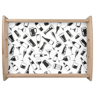 Black Pattern Drinks and Glasses Serving Tray