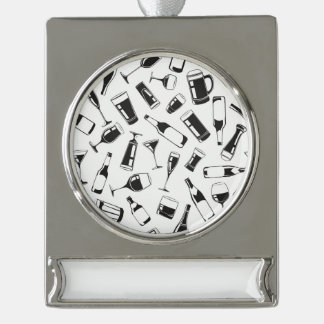 Black Pattern Drinks and Glasses Silver Plated Banner Ornament