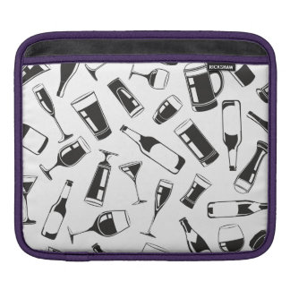 Black Pattern Drinks and Glasses Sleeve For iPads