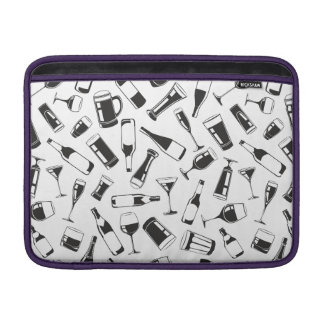 Black Pattern Drinks and Glasses Sleeve For MacBook Air