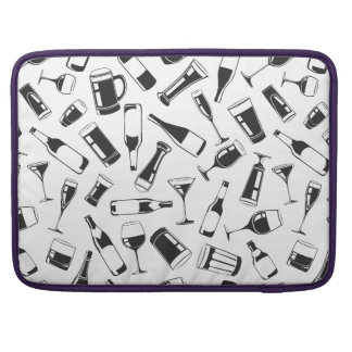 Black Pattern Drinks and Glasses Sleeve For MacBook Pro