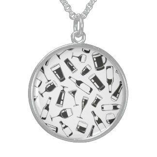 Black Pattern Drinks and Glasses Sterling Silver Necklace