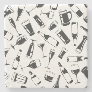 Black Pattern Drinks and Glasses Stone Coaster
