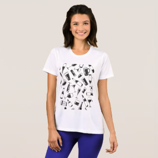 Black Pattern Drinks and Glasses T-Shirt