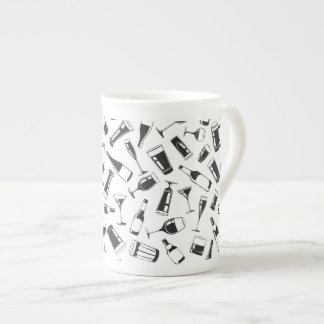 Black Pattern Drinks and Glasses Tea Cup