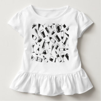 Black Pattern Drinks and Glasses Toddler T-Shirt