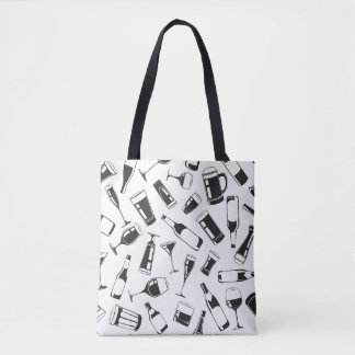 Black Pattern Drinks and Glasses Tote Bag