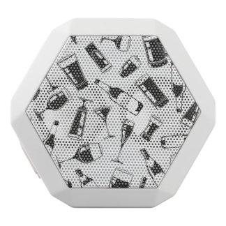 Black Pattern Drinks and Glasses White Bluetooth Speaker