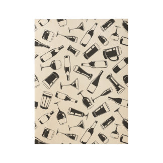 Black Pattern Drinks and Glasses Wood Poster